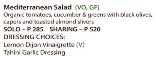 Vegan friendly restaurant - imange of a menu